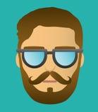 Портрет головы битника бороды Стоковое фото RF