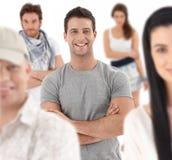 Портрет группы счастливого молодые люди стоковые фотографии rf