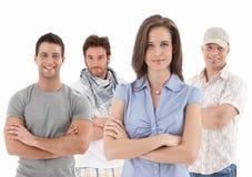 Портрет группы счастливого молодые люди стоковое изображение rf