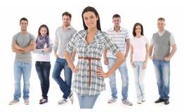 Портрет группы счастливого молодые люди стоковое фото rf
