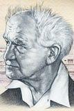 Портрет Давид Бен-Гурион от израильских денег стоковое фото rf