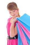 Портрет девочка-подростка с хозяйственными сумками Стоковые Фотографии RF