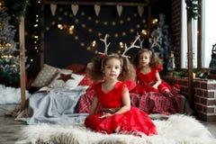 Портрет девушек милого thinkfull маленьких двойных около окна и выглядеть внешний Курчавые сестры в красных платьях сидя на пушис стоковое фото rf