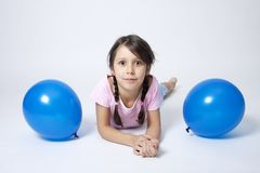 портрет девушки воздушного шара голубой Стоковое Фото