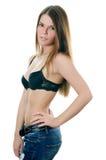 Портрет девушки в джинсыах и нижнем белье Стоковые Изображения