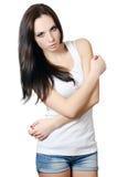 Портрет девушки в джинсыах и нижнем белье Стоковая Фотография