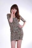 Портрет девушки в коротком, плотном платье Стоковые Изображения RF