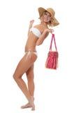 Портрет девушки в шлеме пляжа Стоковое Изображение RF