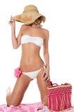 Портрет девушки в шлеме пляжа Стоковые Фотографии RF
