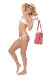 Портрет девушки в шлеме пляжа Стоковая Фотография RF