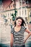 портрет девушки лоснистый ретро Стоковые Изображения