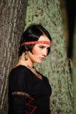 портрет девушки платья средневековый стоковая фотография rf
