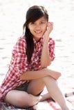 портрет девушки пляжа подростковый Стоковые Изображения