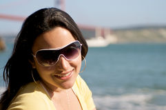 портрет девушки пляжа Стоковое Фото