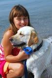 портрет девушки собаки Стоковая Фотография