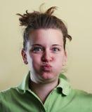 портрет девушки стороны смешной стоковое изображение rf