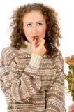 Портрет девушки с конфетой Стоковое Изображение