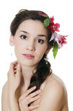 Портрет девушки с цветками Стоковое фото RF