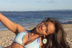 Портрет доминиканской девушки одевая бикини Стоковая Фотография RF