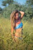 Портрет девушки в голубом купальном костюме Стоковые Фотографии RF
