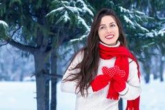 Портрет девушки в зиме внешней Стоковые Изображения RF