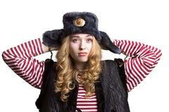 Портрет девушки в крышке солдата Стоковые Изображения RF