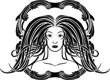 Портрет девушки в стиле Nouveau искусства Стоковое Изображение RF