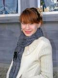 Портрет девушки в ткани осени Стоковое фото RF