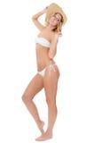 Портрет девушки в шляпе пляжа Стоковое Фото