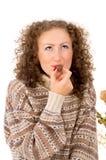 Портрет девушки есть тросточку конфеты Стоковое Фото