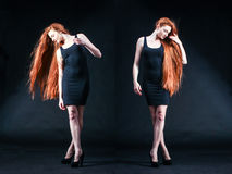 Портрет девушки имбиря красоты Здоровые длинние красные волосы Красивое yo Стоковое Изображение