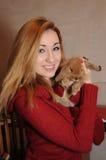 Портрет девушки и кролика Стоковая Фотография