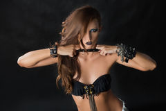 Портрет девушки модели стиля коромысла моды Стоковые Изображения