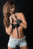 Портрет девушки модели стиля коромысла моды Стоковая Фотография RF