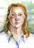 Портрет девушки, нарисованный акварелями Стоковая Фотография
