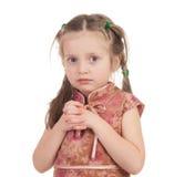 Портрет девушки на белизне Стоковая Фотография