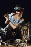 портрет девушки Пар-панка на темной предпосылке Стоковые Фотографии RF