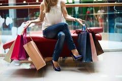 Портрет девушки покупок моды Стоковое Изображение