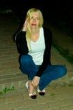 Портрет девушки против неба вечера Стоковое Фото