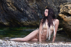 портрет девушки пляжа красивейший Стоковая Фотография