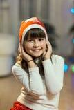 Портрет девушки ребенк во времени рождества Стоковая Фотография