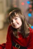 Портрет девушки ребенк во времени рождества Стоковые Фото