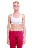 Портрет девушки спорта женщины фитнеса в sportwear изолированной на белизне Стоковая Фотография RF