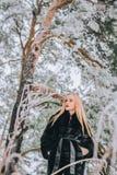 Портрет девушки с ее длинными белокурыми волосами в фото снежного влияния леса ретро, зерно Стоковое фото RF