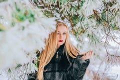 Портрет девушки с ее длинными белокурыми волосами в фото снежного влияния леса ретро, зерно Стоковое Фото