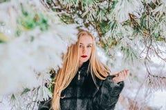 Портрет девушки с ее длинными белокурыми волосами в фото снежного влияния леса ретро, зерно Стоковые Фотографии RF