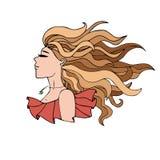 Портрет девушки с длинными волосами в красном платье Стоковое фото RF