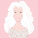 Портрет девушки с серебряными волосами Иллюстрация штока