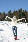 Портрет девушки с серой шляпой в зиме Стоковые Фотографии RF