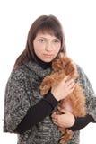 Портрет девушки с собакой Стоковое фото RF